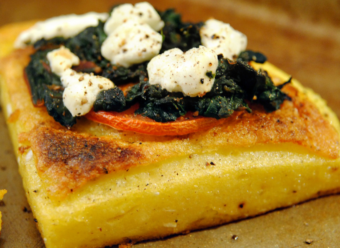 Soph n' Stuff | Fried polenta with swiss chard and goat cheese