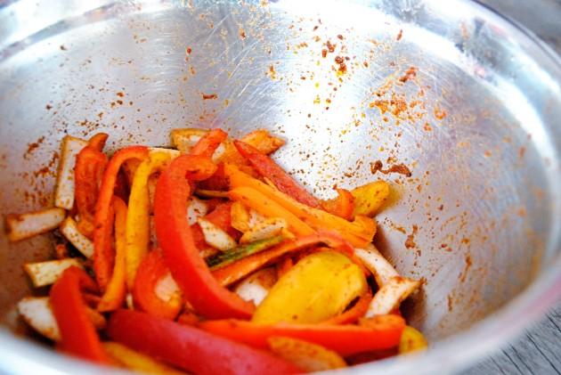 Leftover fajita veggies