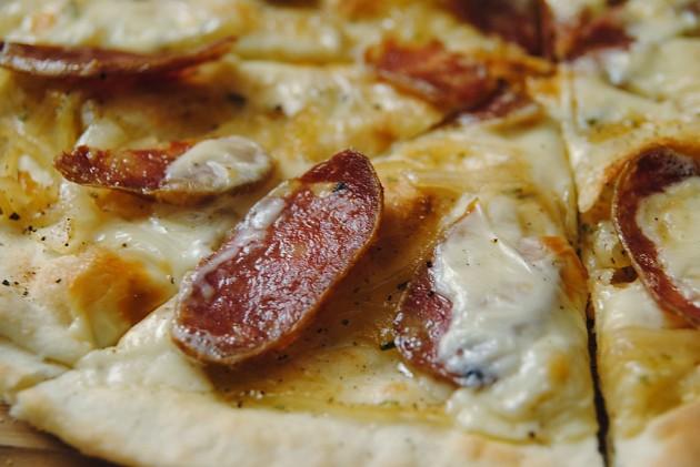 Wild boar sausage pizza