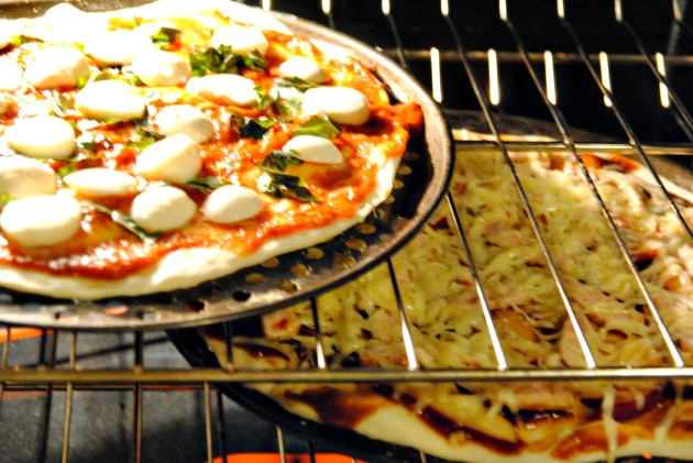 Pizza into the oven