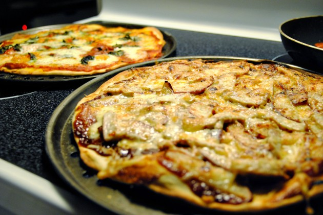 Pork chop pizza and margherita pizza