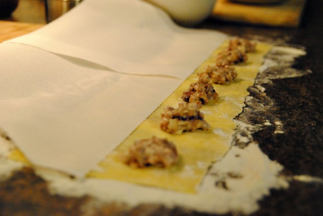 Filling the ravioli