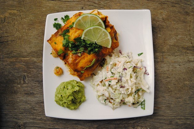 Hominy enchiladas