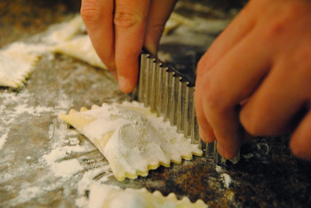 Cutting the ravioli