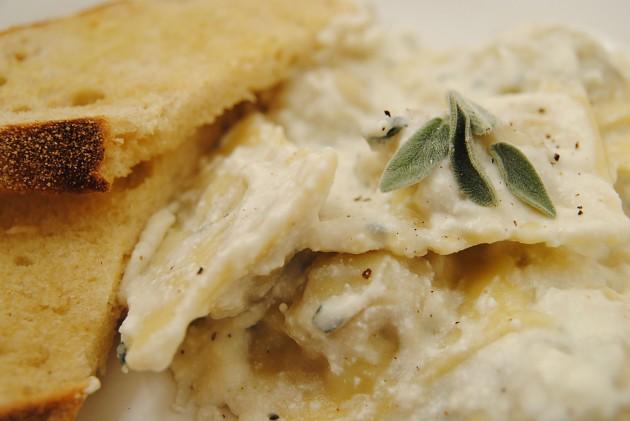 Ravioli with ricotta sage cream sauce