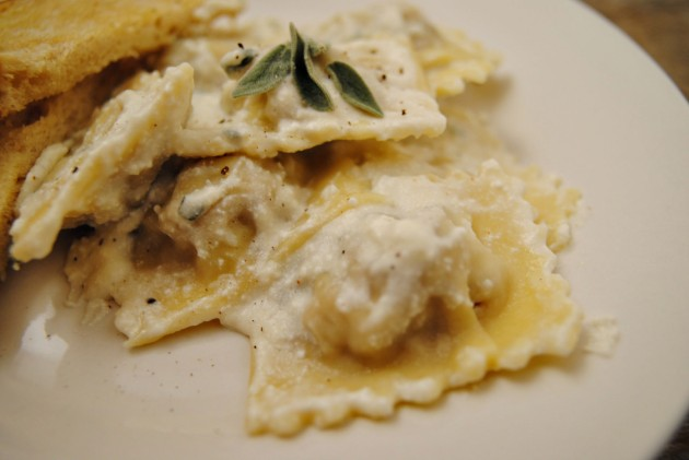 Ravioli with ricotta sage cream sauce