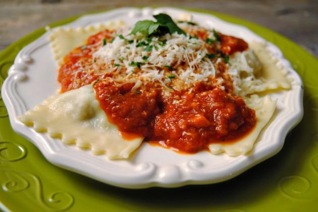 Sausage ravioli with tomato sauce