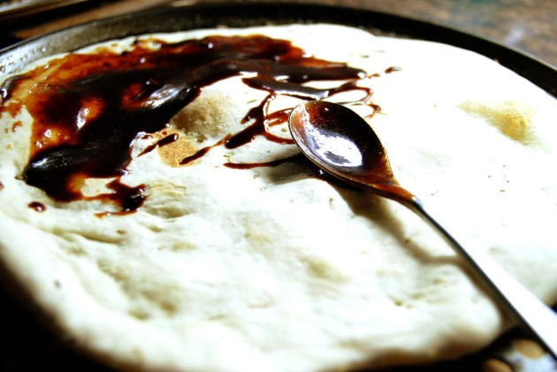 Pizza with balsamic bbq sauce