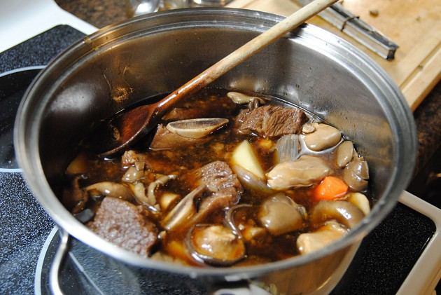Braising the meat and veggies