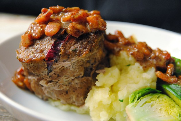 Meatloaf with bacon mustard sauce