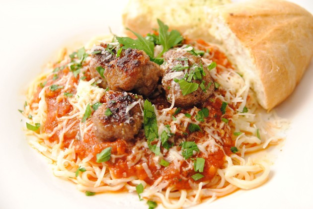 Fresh spaghetti and meatballs