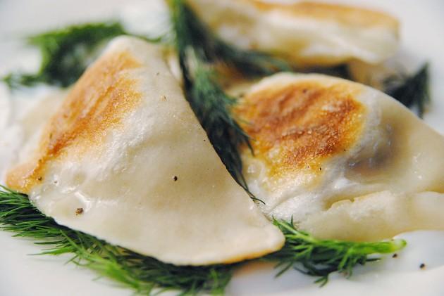 Smoked salmon perogies