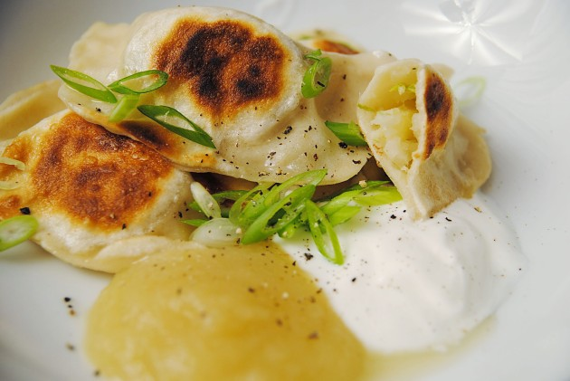 Apple cabbage and cheddar perogies