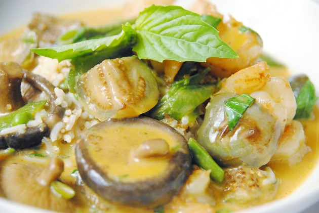 Thai red curry shrimp with eggplant