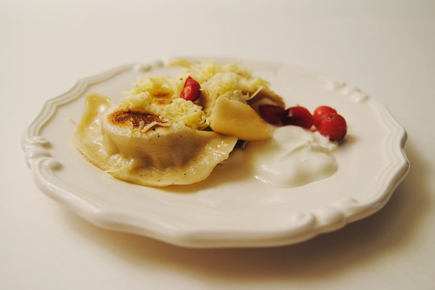 Pork, leek and cranberry perogies