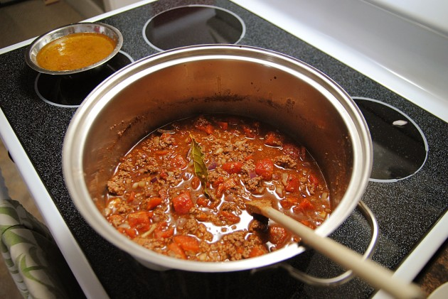 Cooking the chili