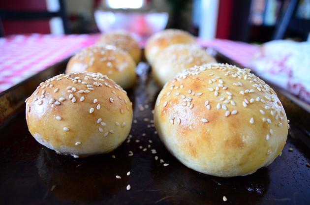 Home-made sesame buns