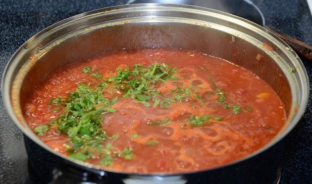 Adding the cilantro