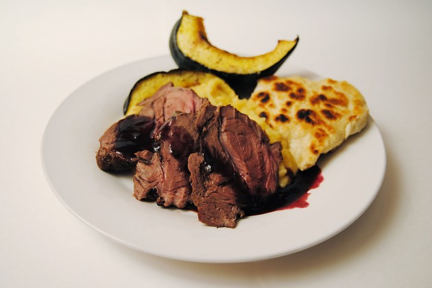 Elk with blueberry sauce