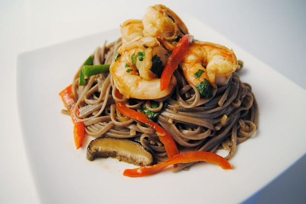Soba noodle stir fry