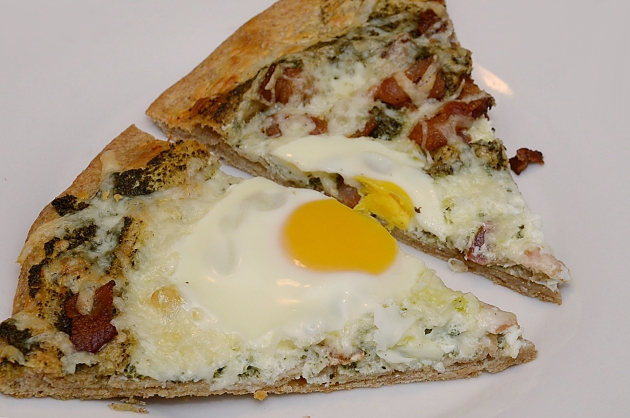 Pesto, bacon and egg pizza