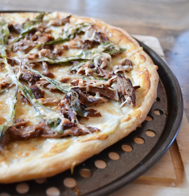 Wild leek pizza