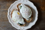 Poached eggs and ramps on rye